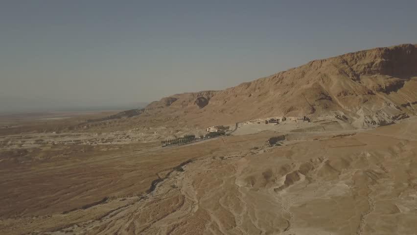 Dead sea desert 4k aerial view ungraded flat | Shutterstock HD Video #1011483146