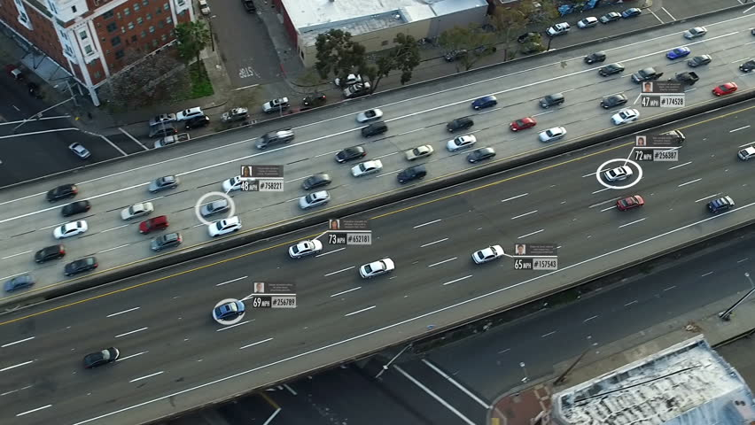 Traffic surveillance system in highway. Speed and identity Control System.  Blurred and fake driver and car information displaying. Future transportation.  Artificial intelligence. Autonomous car. | Shutterstock HD Video #1011485606
