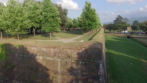 Lucca walls aerial view