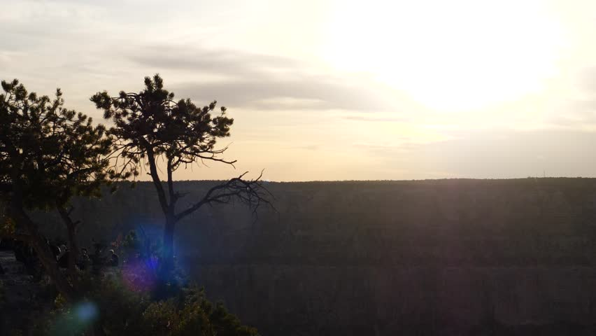 Bright Sunset Over The Southern Rim Grand Canyon