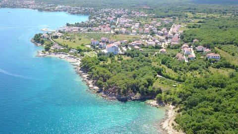 Panoramic view if seascape of Krk Island in Croatia. Overview of Porat town from above