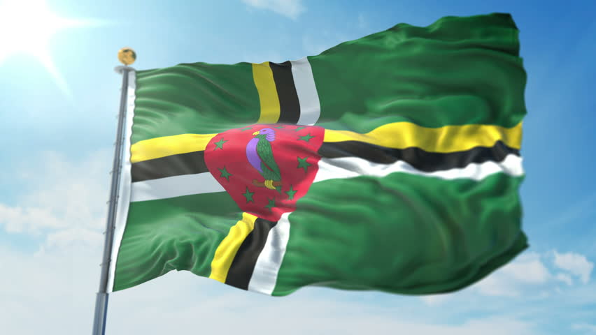 Dominica flag seamless looping 3D rendering video. 3in1:includes isolated on green screen and alpha channel as luma matte for easy clipping in AE. Beautiful fabric loop waving in the wind