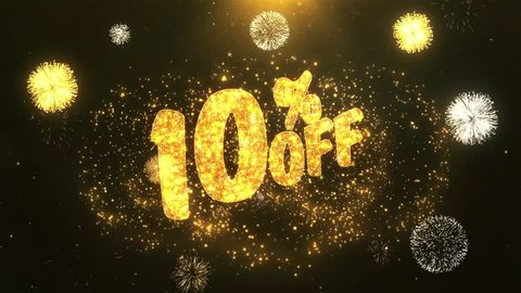 10% off Greeting Card text Reveal from Golden Firework & Crackers on Glitter Shiny Magic Particles & Sparks Night star sky for Celebration, Wishes, Events, Message, holiday, festival