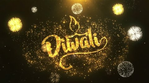 Happy Diwali Greeting Card text Reveal from Golden Firework & Crackers on Glitter Shiny Magic Particles & Sparks Night star sky for Celebration, Wishes, Events, Message, holiday, festival