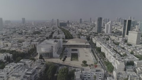 Aerial panoramic view on Rothschild boulevard and Habima square in Tel Aviv 4k dlog ungraded flat raw footage