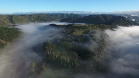 Aerial view of thick morning fog blanketing the Whanganui river, New Zealand