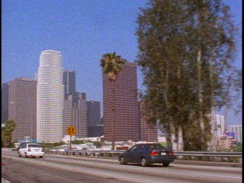 LOS ANGELES, 1999, Los Angeles downtown, POV from Harbor Freeway