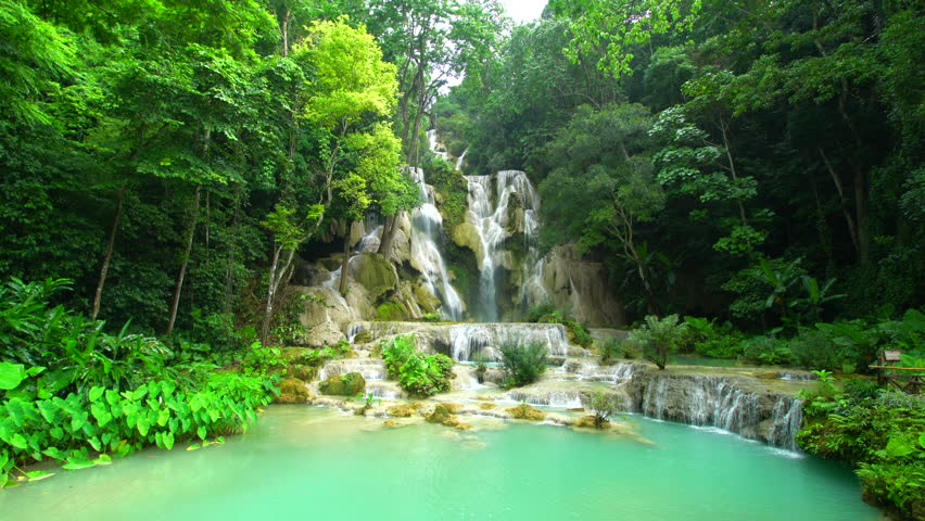 Scenic Kuang Si Water Falls near Luang Prabang - Laos