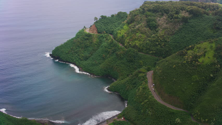Maui, Hawaii circa-2018. Aerial view of road to Hana along Maui coastline.