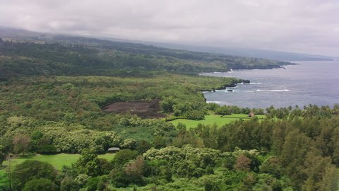 Maui, Hawaii circa-2018. Aerial view Kahanu Garden & Pi'ilanihale Heiau ancient ruins. Shot with Cineflex and RED Epic-W Helium.