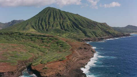 Oahu, Hawaii circa-2018. Aerial view of Koko Crater. Shot with Cineflex and RED Epic-W Helium.