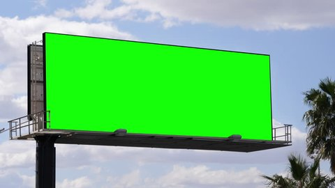 Outdoor Blank Billboard City Advertising Mockup, Green Chroma Sky Poster