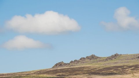 Fluffy clouds over Carn Menyn Rocks on Preseli Hills Pembrokeshire Timelapse