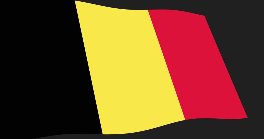 Animation 4K footage of Belgium flag slow waving on black background, perspective view