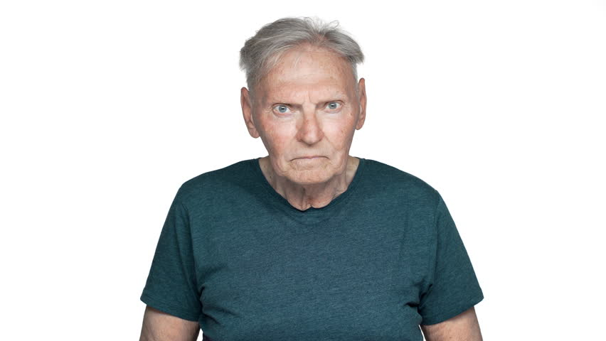 Portrait of impressed old aged man 70s having gray hair in basic t-shirt covering face in surprise, isolated over white background | Shutterstock HD Video #1011732296