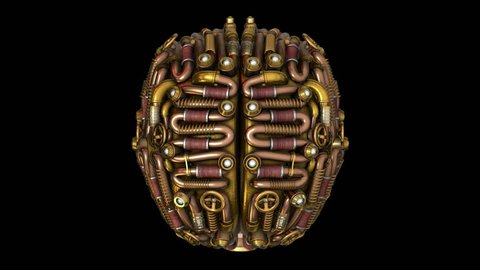 3D Steampunk brain model animation in 4K top view. Ideal for Science fiction movies, TV shows, intro, news, commercials, retro, fantasy, steampunk related projects etc. Includes ALPHA MATTE.