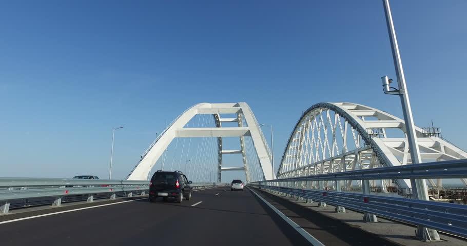 Cars go on Crimean bridge