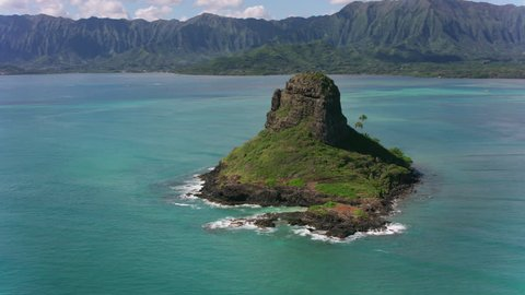 Oahu, Hawaii circa-2018. Aerial view of Mokolii Islet also known as Chinaman's Hat.