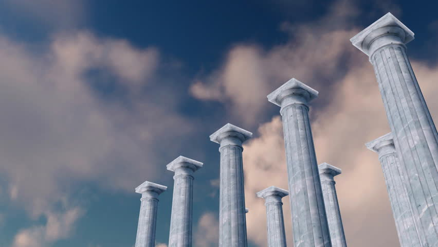 Ancient colonnade, classic tuscan order columns of white marble in a row against sky with timelapse clouds on background. Low angle view concept 3D animation rendered in 4K