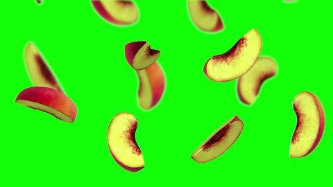 Lobules of peach falling on green screen, 3d animation.