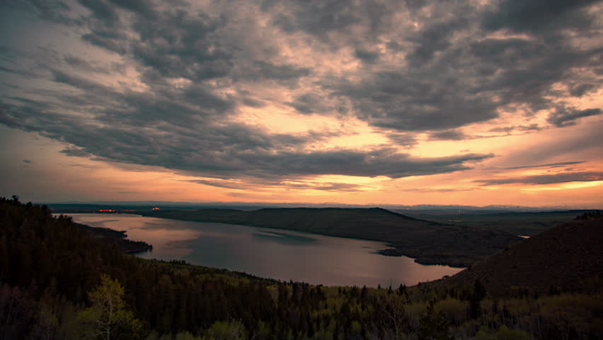 Colorful time lapse at dusk overlooking Fremont Lake in Wyoming as the light fades in the evening.