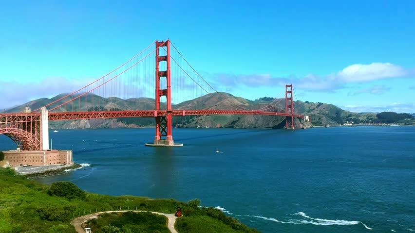 AERIAL VIEW OF GOLDEN GATE BRIDGE IN SAN FRANCISCO, CALIFORNIA. DRONE SHOT. | Shutterstock HD Video #1011791966