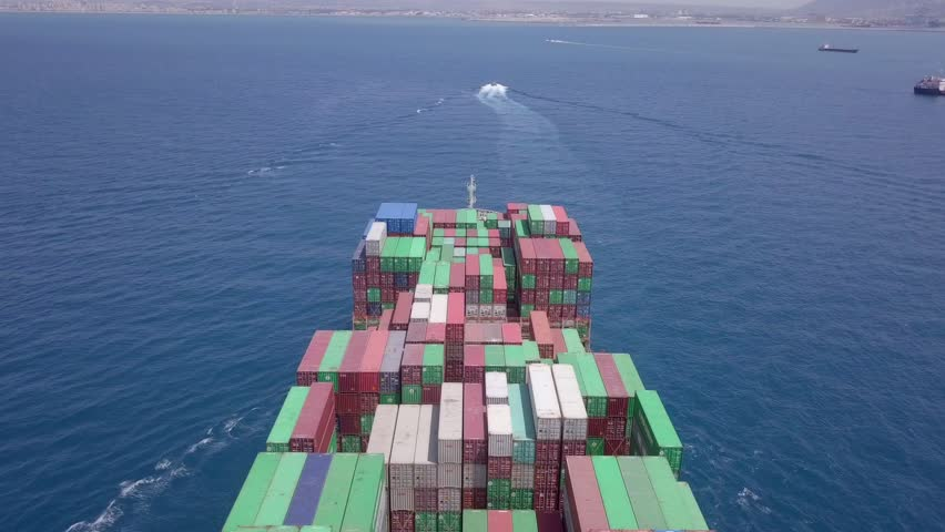 Ultra large container vessel (ULCV) at sea - Aerial footage  #1011793466