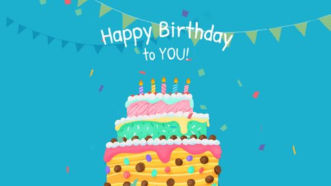 Happy Birthday Cake with text, 2D animation