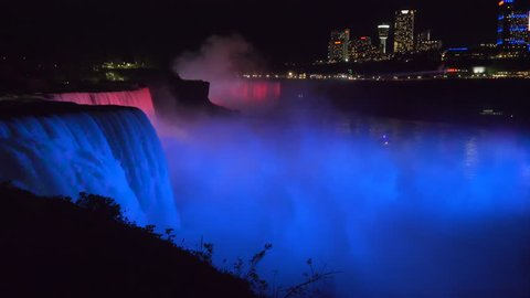 Niagara Falls at night.
