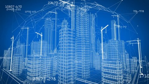 Beautiful 3d Blueprint of Contemporary Buildings with Cranes inside Network. Flying Over Growing City Project. Blue color 3d animation. Construction Business and Technology Concept. 4k UHD 3840x2160.