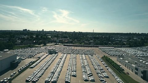 Aerial shot of big new car warehouse