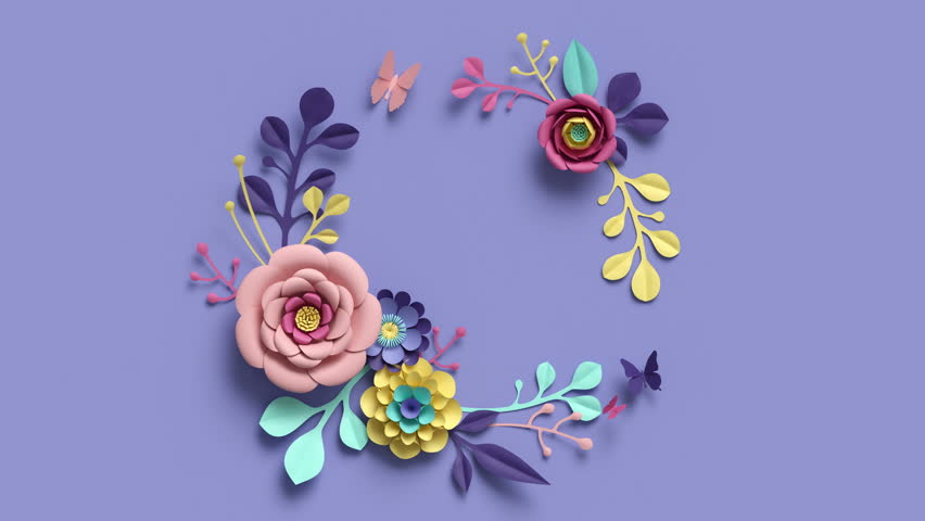 3d render, round floral wreath, growing nature, violet background, paper flowers, blooming botanical pattern, bridal bouquet, papercraft, pastel colors, 4k animation | Shutterstock HD Video #1011845246