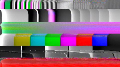 Analog capture (intentional heavy distortion fx): a rainbow colorful tv test pattern made of blocks of varying dimensions.