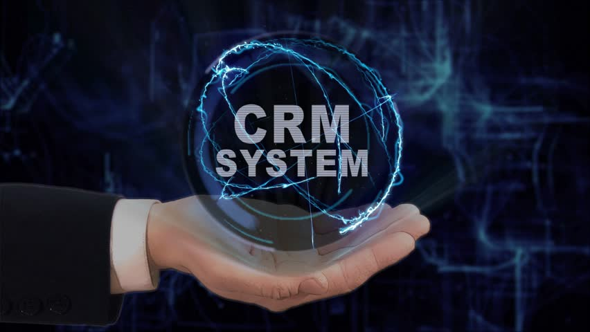 Painted hand shows concept hologram CRM system on his hand. Drawn man in business suit with future technology screen and modern cosmic background | Shutterstock HD Video #1011868076