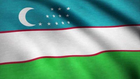 Realistic beautiful Uzbekistan flag. Waving national flag of Uzbekistan
