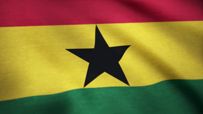 Ghana flag pattern on the fabric texture ,vintage style. Close up shot of wavy, colorful flag of Ghana. Close up shot of wavy, colorful flag of Ghana