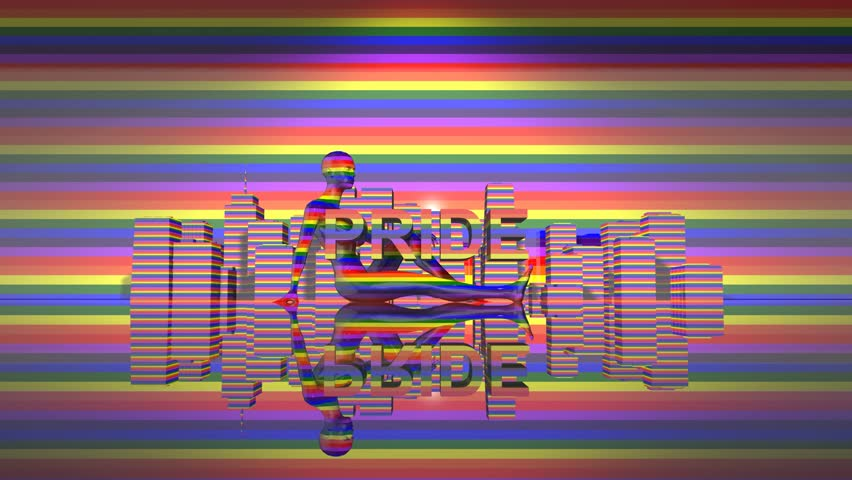 Pride Day LGBTQIA Gay Pride LGBT Mardi Gras graphic title 3D render. The letters LGBT & LGBTQIA refer to lesbian, gay, bisexual, transgender, queer or questioning, intersex, and asexual or allied.