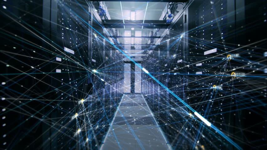 The Concept of: Digitalization of Information Stream Moving Through Rack Servers in Data Center. Web, Net, Threads of Interconnected Bits of Data Moving. Shot on RED EPIC-W 8K Helium Cinema Camera. | Shutterstock HD Video #1011929006