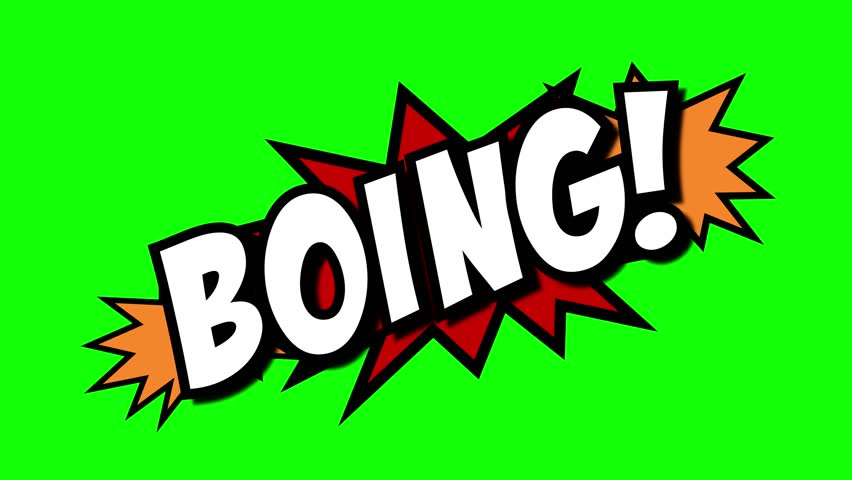 A comic strip speech cartoon animation with an explosion shape. Words: Aargh, Boing, Boink. White text, red and yellow spikes, green background.