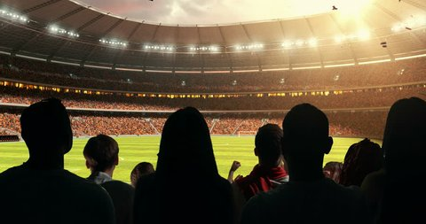 Fans celebrating the success of their favorite sports team, a man is standing with raised hands on the stands of the professional stadium while the sun shines. Stadium is made in 3D and animated.