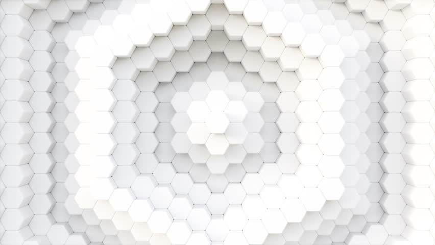 HQ animation of white hexagons mosaic. 3D render loop abstract background. | Shutterstock HD Video #1011945626