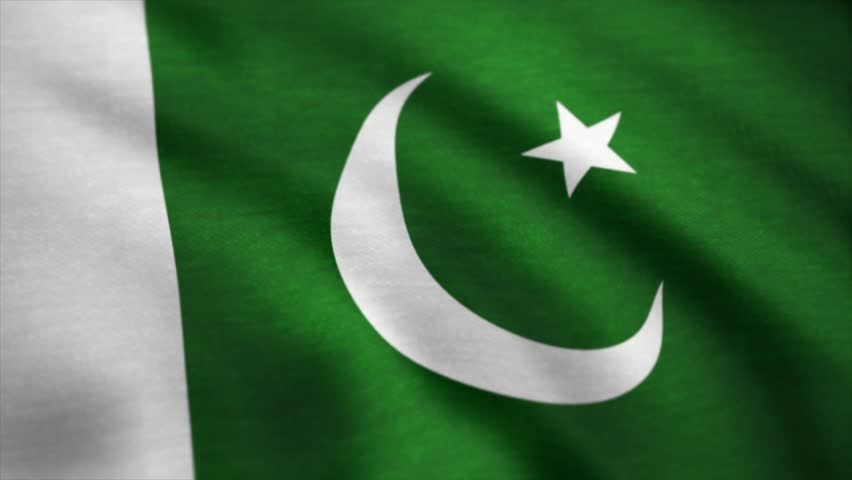 Flag of the Pakistan waving on wind. Pakistan flag animation