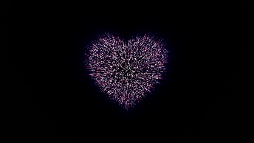 explosion of heart to million particular, millions of particles merge and create a heart shape, 4K valentines day video greeting card