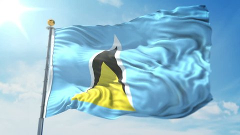 Saint Lucia flag seamless looping 3D rendering video. 3in1:Includes isolated on green screen and alpha channel as luma matte for easy clipping in AE. Beautiful detailed fabric loop waving in the wind