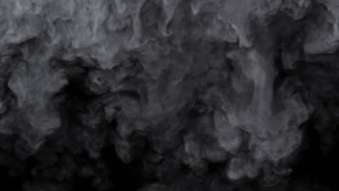 Grey smoke falls from all along the top of screen  and fills the screen. Comes with the Alpha Matte.