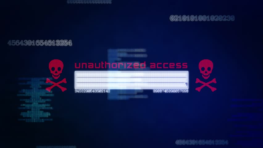 Dark blue abstract computer interface background showing a status bar with red unauthorised access and a skull. Text and code is generated from infected internet server system of the world wide web.