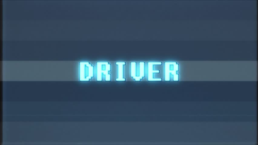 Retro videogame DRIVER word text computer tv glitch interference noise screen animation seamless loop New quality universal vintage motion dynamic animated background colorful joyful video m | Shutterstock HD Video #1012035386