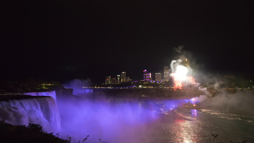 4k footage of Niagara Falls at night with fireworks.