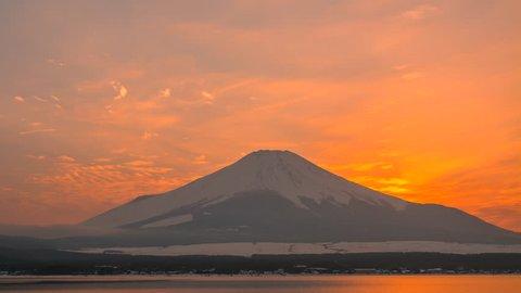 4k Timelapse Sunset Scene of mt. Fuji with Frozen of Lake Kawaguchi, Winter Season, Japan