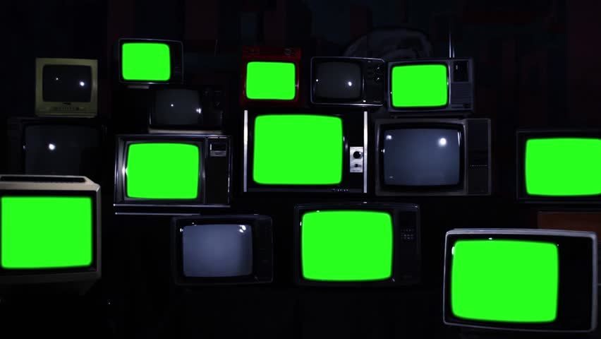 Many Tvs Green Screens. Zoom In. Blue Steel Tone. Aesthetics of the 80s. Zoom In. Ready to Replace Green Screens with Any Footage or Picture you Want.  | Shutterstock HD Video #1012059866
